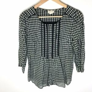 Anthro Meadow Rue Gingham Check Pintuck Blouse